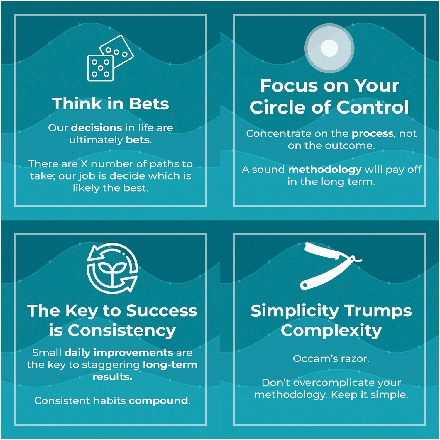 think in bets, circle of control, consistency, simplicity